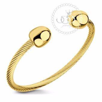 555jewelry กำไล สแตนเลสสตีล ลายเกลียว (สี ทอง)