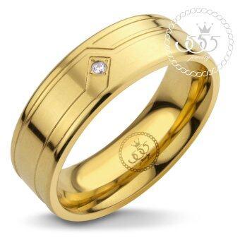 555jewelry แหวนเรียบ กัดลาย รุ่น MNR-338T-B (สี ทอง)