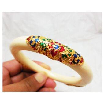 Thai Jewelry กำไลข้อมือ งาช้างเทียม ทองลงยาสุโขทัย งานทองชุบไมครอน ชุบเศษทองคำแท้ 96.5%