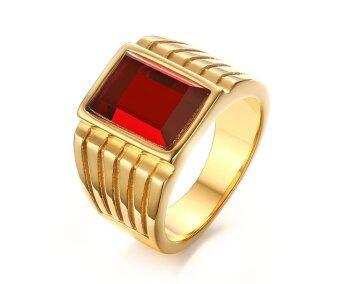 ฉากสเตนเลสสีแดงเม็ดพลอยแหวนสำหรับหมั้นแต่งงานชายสาย