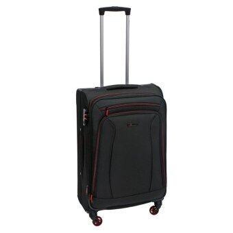 Fantastico กระเป๋าเดินทางแบบผ้า แกรนด์ 24 นิ้ว (61 ซม.) สีดำคาดแดง