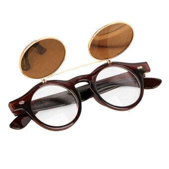 แว่นตาแว่นสตีมพังก์ผีดิบขึ้นมาดีดเรโทรแว่นตากันแดดสีน้ำตาล
