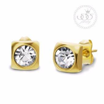 555jewelry Stainless Steel 316L ต่างหูก้านเสียบประดับด้วย CZ กลมขาว รุ่น MNC-ER447-B (Yellow Gold)