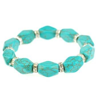 Harga Jiayiqi Multilateral Diamond Beaded Turquoise Spacer Crystal SilverColor Charm Stretch Bracelet