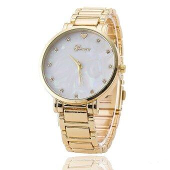 Harga Mother of Pearl Dial Geneva Stainless Steel Wristwatch Fashion Quartz Watch (Gold)