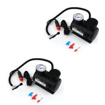 Air Compressor ปั้มลมไฟฟ้าสำหรับรถยนต์ ปั๊มลมติดรถยนต์ ปั๊มเติมลมยาง Air pump 300PSI 12V (สีดำ) แพ็ค 2 ชิ้น