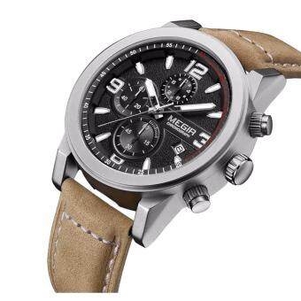 Megir SW01-BLK นาฬิกาผู้ชายสายหนัง ระบบโครโนกราฟ