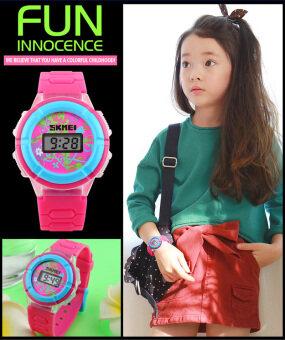 เด็กผู้หญิงมีแนวโน้มแฟชั่นนาฬิกา led ไฟ 1097 ดิจิตอล Wirstwatches ของขวัญดี ๆ สำหรับคนหนุ่มสาว (กุหลาบแดง)