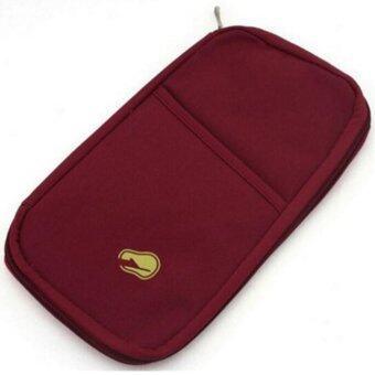 TravelGear24 กระเป๋าใส่หนังสือเดินทาง กระเป๋าพาสปอร์ต หนังสือเดินทาง หนังสือวีซ่า พาสปอร์ต Travel Visa Passport Bag ( Red Wine/สีไวน์แดง )