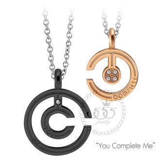 555jewelry จี้คู่พร้อมสร้อยคอ ดีไซน์สวย รุ่น MNP-154TD-155TC - สี ดำ-พิ้งโกลด์ จี้ชาย จี้หญิง จี้คู่รัก ดีไซน์Unisex