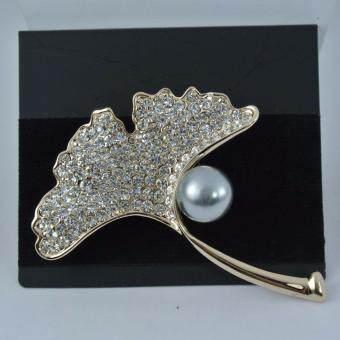 Pearl Jewelry เข็มกลัดชุดดำ ใบไม้มุกเทา PB1(Gold)