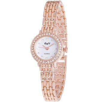 MEGA Fashion Wristwatch Chain Watch Strap หรูหราแฟชั่นนาฬิกาข้อมือผู้หญิง หรูหราแฟชั่นนาฬิกาข้อมือผู้หญิง สายหนังนาฬิกาโซ่ รุ่น MG0025 (Gold)