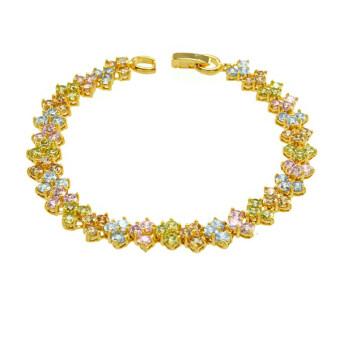 Tfine สร้อยข้อมือพลอยสีชมพูเขียวเหลืองฟ้าชุบทอง