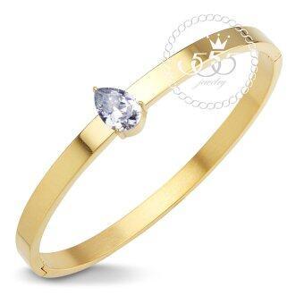 555jewelry กำไลข้อมือ ประดับ CZ หยดน้ำ สี ทอง รุ่น MNC-BG257-B - กำไลข้อมือดีไซน์เรียบ สแตนเลสสตีล