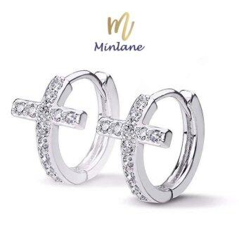 Minlane Jewelry Luxury Micro Paved Crystal Cubic Zirconia Romantic Heart Hoop Earrings ต่างหู เงิน ทองคำขาว ไม้กางเขน MJ 006