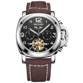 Megir เรืองแสงนาฬิกาจักรกลแท้ชาย Nubuck นาฬิกาข้อมือสายหนังกันน้ำ (สีน้ำตาล & สีดำ)