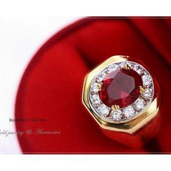 ManeeNopparut มณีณพรัช แหวนทอง (ชาย) ทับทิม ขอบรี รุ่น RM019