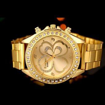 เพศหญิงชายทองนาฬิกาข้อมือหรูสเตนเลสผลึกทอง