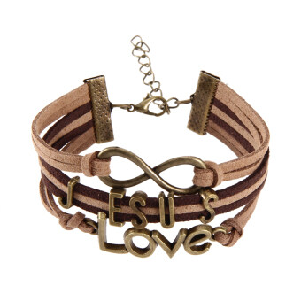 Harga Bronze Jesus Love Pendant Girl Boy Braid Bracelet Unisex String Band Bangle
