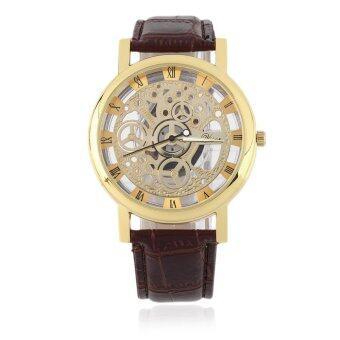นาฬิกาข้อมือ สายหนังPU สุดเท่ ตัวเรือนโปร่งใส