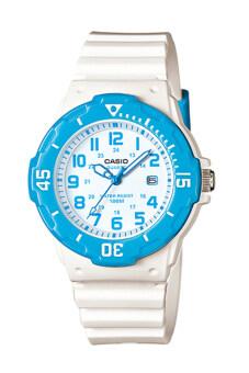 Casio Standard นาฬิกาข้อมือผู้หญิง สายเรซิ่น รุ่น LRW-200H-2BVDF - สีขาว/ฟ้า