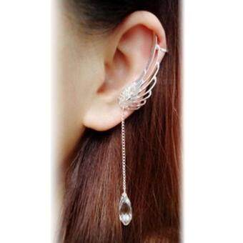 Occident tye Fairy Ange Wing Ear Cip Cryta Chain Earring Silver (image 3)