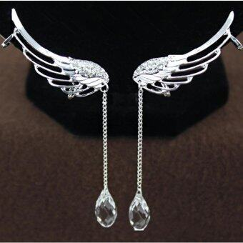 Occident tye Fairy Ange Wing Ear Cip Cryta Chain Earring Silver (image 1)