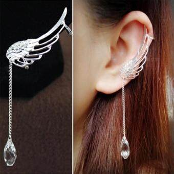 Occident tye Fairy Ange Wing Ear Cip Cryta Chain Earring Silver (image 0)