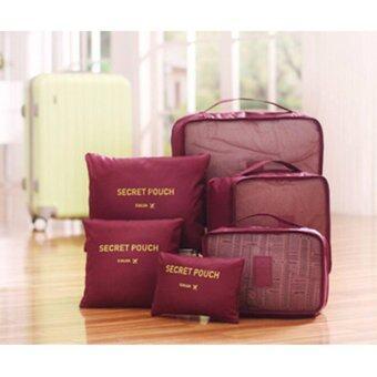 meet กระเป๋าจัดระเบียบเสื้อผ้าสำหรับเดินทาง 6 sets travel Organizers Packing Cubes Luggage Organizers Compression Pouches - Wine Red (เซ็ท 6 ชิ้น)