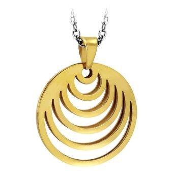 555jewelry จี้วงกลมสไตล์ Modern ฉลุลายเส้นโค้ง รุ่น MNC-P517-B สี Yellow Gold