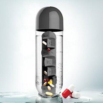 DUGADEE ขวดพลาสติก ตลับยา ขวดน้ำเก็บกล่องยา ขวดพลาสติก ขวดน้ำ ขวดบรรจุน้ําดื่มblack