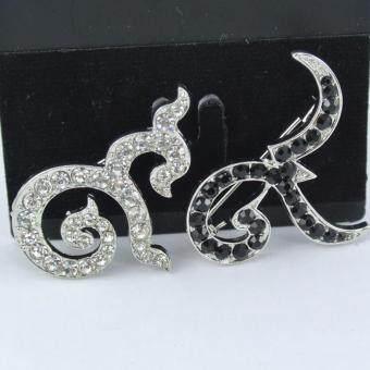 Pearl Jewelry เข็มกลัดไว้อาลัย 9 มงคล คู่เงิน คริสตัลดำ 902