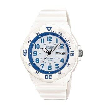 Casio Standard Analog นาฬิกาข้อมือ สายเรซิน MRW-200HC-7B2VDF – สีขาว/ฟ้า