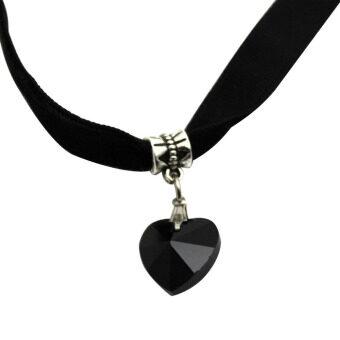 สร้อยคอสร้อยคอหญิงสาวหัวใจรักประดับคริสตัลจี้เรโทรสีดำ