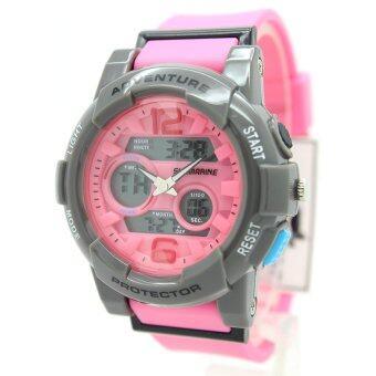 Submariner นาฬิกาข้อมือผู้หญิงและเด็ก สายยาง 2 ระบบ (เข็มและDigital) - SS20039 (Pink)