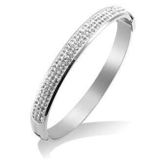 555jewelry กำไลข้อมือวงกลมคลาสสิค ฝัง CZ สีขาวครึ่งวง รุ่น MNC-BG175-A - สี Steel