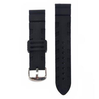 22มม.ซิลิโคนกันน้ำรัดสายปรับได้นาฬิกาโค้งหัวเข็มขัดสแตนเลส (สีดำ)