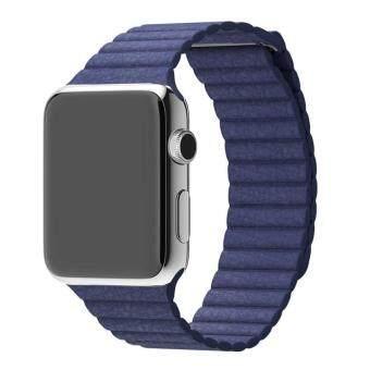 หนังแท้เข็มขัดรัดสายนาฬิกาคล้องแม่เหล็กสำหรับ Apple Watch 42มมบีแอล