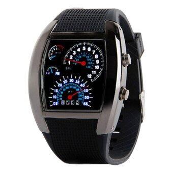 นาฬิกาดิจิตอล Led คนกีฬาแข่งรถความเร็วจังหวะของคนกดนาฬิกาข้อมือผู้ชายทหารรัดซิลิโคน (สีดำ)
