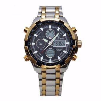 นาฬิกาข้อมือ GOLDENHOUR GH03-SG-BLK นาฬิกาผู้ชายสายสเตนเลสสตีล สไตล์อนาล็อก