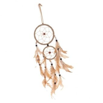 "Harga MagiDeal 18.5"" Traditional Dream Catcher with Feathers Wall Car Hanging Ornamen Beige - intl"