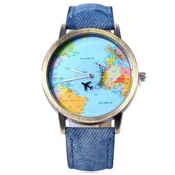 นาฬิกาข้อมือนาฬิกาควอทซ์เพศแผนที่โลกลูกหนังสาย 8