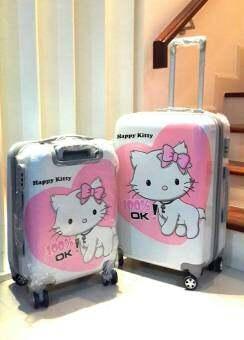 Tonkoon shop กระเป๋าเดินทางล้อลาก ลายแมวน้อย happy สีชมพู ขนาด 24 นิ้ว