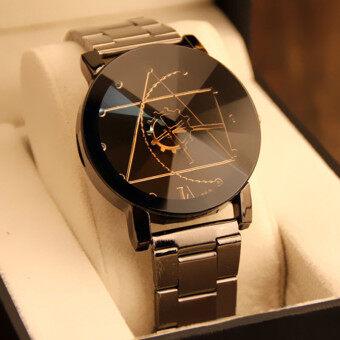แฟชั่นนาฬิกาควอทซ์สเตนเลสคล้ายคลึงมนุษย์นาฬิกาข้อมือสีดำ