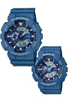 Casio G-Shock และเด็ก.., ก, ชาย และหญิง GA-110DC-2A และ BA-110DC-2A2 ยางรัดสองนาฬิกาสีน้ำเงิน