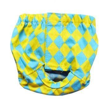 Dogacat กางเกงอนามัยสุนัข กางเกงอนามัยหมา กางเกงอนามัยแมว ลายข้าวหลามตัด เหลืองฟ้า