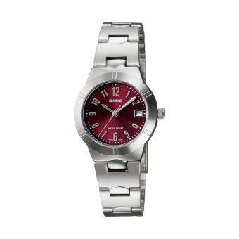 Casio Standard นาฬิกาข้อมือผู้หญิง สายสแตนเลส รุ่น LTP-1241D-4A2DF - Silver/Red