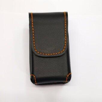 Iruach leather vp002 ซองแว่นพับ หนังวัวแท้สีดำด้ายส้ม