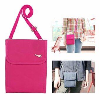 TravelGear24 กระเป๋าใส่หนังสือเดินทาง กระเป๋าพาสปอร์ตพร้อมสายสะพาย Travel Visa Passport Bag( Pink/สีชมพู)