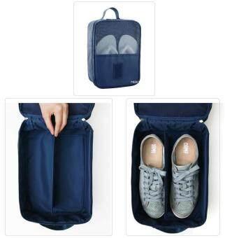 Mori กระเป๋าจัดระเบียบ กระเป๋าใส่รองเท้า ถุงใส่รองเท้า 3 คู่ Shoes Bag Shoes Organizer Bag Organizer (Navy Blue / สีน้ำเงิน)